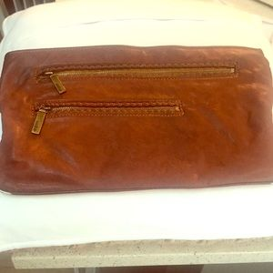 Vintage dark leather large clutch